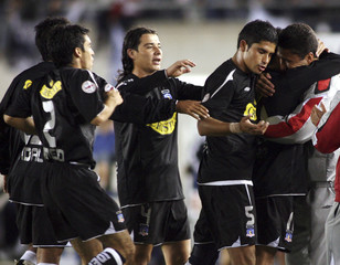 Fierro of Colo Colo celebrates after scoring against Gimnasia y Esgrima during soccer match in  La Plata