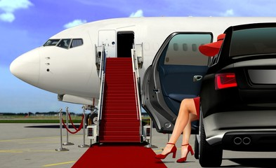 Limousine arrival at the airport with red carpet