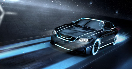 High speed black sports car - futuristic concept (with grunge overlay) - 3d illustration