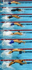 SWIMMERS LAUNCH AT START OF 50 METRES BACKSTROKE HEAT AT THE WORLDSWIMMING CHAMPIONSHIPS.