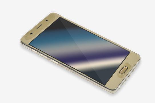 Złoty smartfon w etui silikonowym