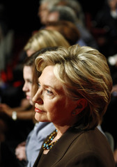 Hillary Clinton watches the debate between Obama and McCain at Hofstra University in Hempstead, New York