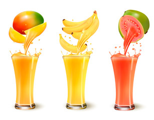 Wall Mural - Set of fruit juice splash in a glass. Mango, banana and guava. Vector
