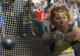 Yekaterina Khoroshikh of Russia throws her hammer during the Zlata Tretra track and field meeting in the northern Moravian town of Ostrava