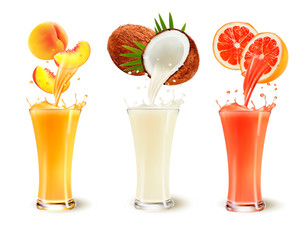 Set of fruit juice splash in a glass. Peach, coconut and grapefruit. Vector
