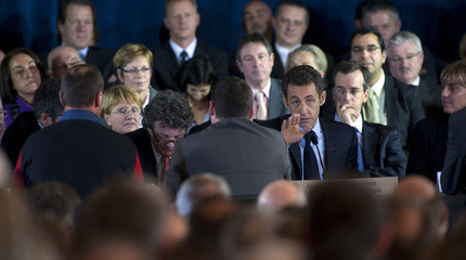 France's President Sarkozy and Minister for Sustainable Development Borloo present the government's plan to fight against unemployment in Valenciennes