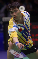 CHINA'S XIA XUANZE PLAYS INDONESIA'S HENDRAWAN DURING THEIR MEN'S BADMINTON SINGLES SEMIFINAL AT ...