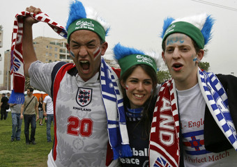 England and Israeli fans celebrate a day before the soccer match between England and Israel in Tel Aviv