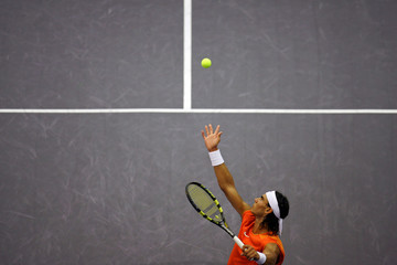 Spain's Rafael Nadal serves to Robby Ginepri of the U.S. during their Madrid Masters semi-final match in Madrid