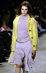 LAVENDER SKIRT AND YELLOW JACKET AT DKNY FALL 2003 COLLECTION.