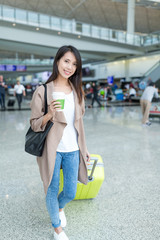 Young woman go travel and carry with coffee cup