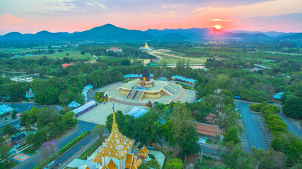 sunset at wat Huay Mongkol temple