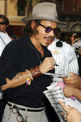 Actor Depp greets fans at world premiere of 'Pirates of the Caribbean: Dead Man's Chest' at Disneyland in Anaheim