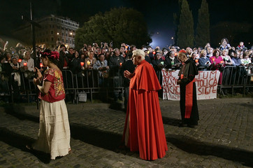 Pope Benedict XVI leads traditional Via Crucis (Way of the Cross) Good Friday service at Rome's Colosseum