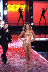 Victoria's Secret model Ambrosio walks the runway as Timberlake performs in Hollywood