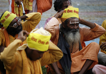 Hindus prepare to take part in protest rally to demand that Nepal be declared Hindu state again in Kathmandu