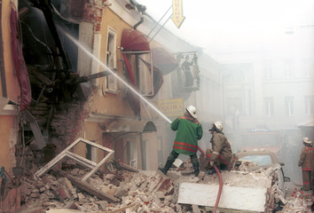 FIREMEN FIGHT FIRE AT A BLAST SITE IN MOSCOW.