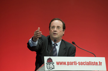 French socialist party first secretary Hollande delivers a speech during the party's national council meeting in Paris