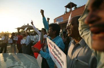 Activists of 'Anti Terrorist Front' shout slogans during a protest against Pakistan in Mumbai