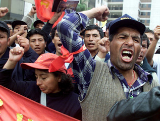 PERUVIAN PUBLIC SCHOOL TEACHERS YELL SLOGANS.