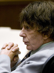Defendant Phil Spector sits in court during his murder trial in Los Angeles