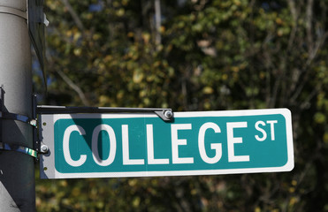 The College Street sign is seen on the campus of Yale University in New Haven, Connecticu