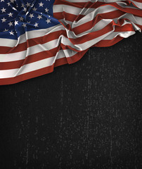 America USA Flag Vintage on a Grunge Black Chalkboard With Space For Text