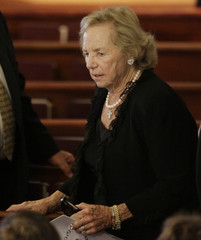 Ethel Kennedy arrives for funeral services for Eunice Kennedy Shriver at Saint Francis Xavier Roman Catholic Church in Hyannis