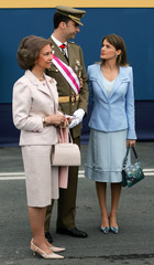 Spain's Princess Letizia, Crown Prince Felipe and Queen Sofia chat during celebrations in Coruna, Spain.