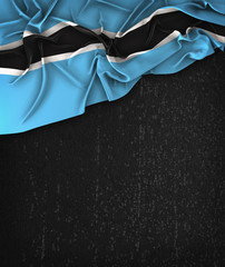 Botswana Flag Vintage on a Grunge Black Chalkboard With Space For Text