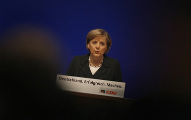 German Chancellor Angela Merkel delivers a speech during a Christian Democrats (CDU)  party congress in Dresden