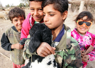 Iraqi children hold a lamb in a remote village part of Ramadi as they celebrate Muslim holiday Eid-al-Adha.