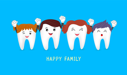 Happy cute family cartoon tooth characters. Dental care concept. Illustratiion on blue background.