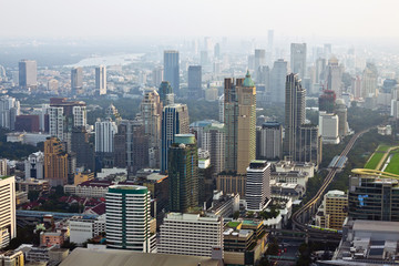 Bangkok Skyline, aerial view of capital in Thailand.