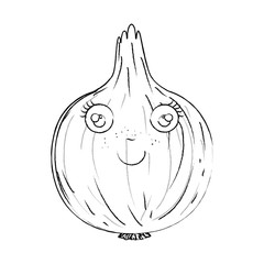 monochrome blurred silhouette of caricature onion vector illustration