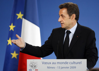 France's President Sarkozy delivers a speech during the New Year greetings ceremony to French culture officials in Nimes