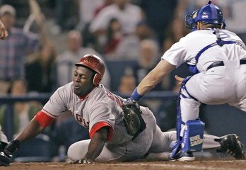 Los Angeles Angels of Anaheim Vladimir Guerrero injures himself sliding into home plate against Los ...
