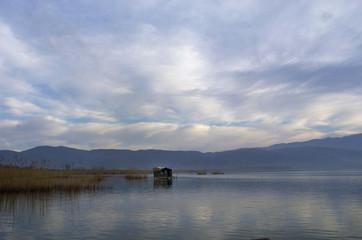 An abandoned fisherman's house is seen at Dojran Lake