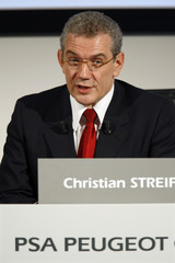 Christian Streiff, Peugeot Citroen Chief Executive, presents 2007 results of Europe's second-biggest carmaker at a news conference in Paris