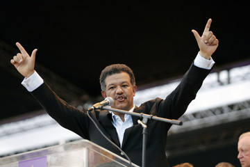 Dominican Republic's President Fernandez gestures during the close of his presidential campaign in Santo Domingo