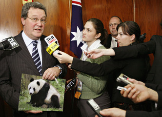 Australia's Foreign Minister Downer holds a picture of a panda bear as he is interviewed by reporters on the sidelines of the APEC meeting in Sydney