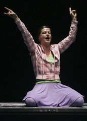 Actress Tismer performs on stage during Hebbel's and Haendel's piece Judith in Salzburg