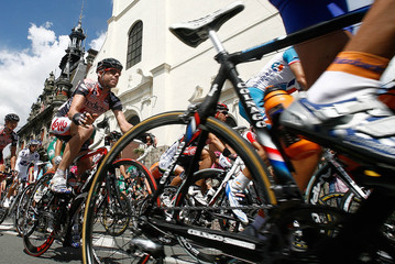 Predictor Lotto team rider Evans cycles with the pack of riders cycle during the third stage of the 94th Tour de France