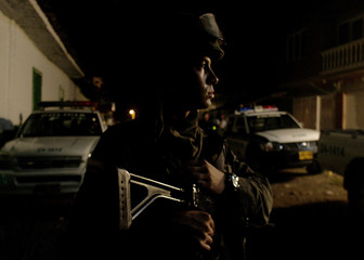 A Colombian Special Police Force officer stands guard in Timba