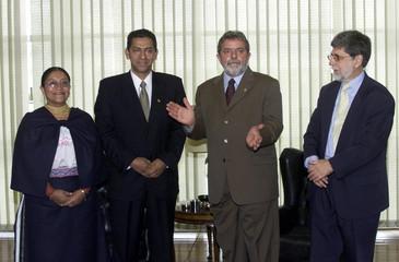 BRAZILIAN PRESIDENT LULA DA SILVA DURING MEETING WITH ECUADOREANPRESIDENT GUTIERREZ IN BRASILIA.