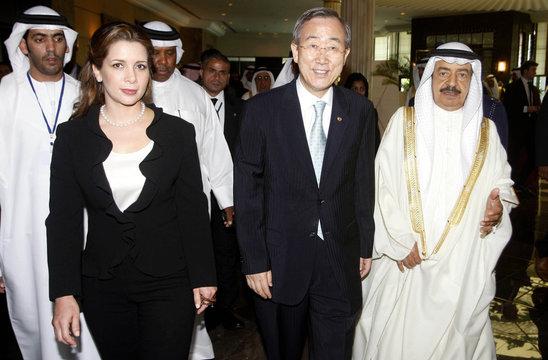 Princess Haya, UN Secretary-General Ban and Bahrain's PM Sheikh Khalifa bin Salman al-Khalifa arrive at UN Conference in Manama