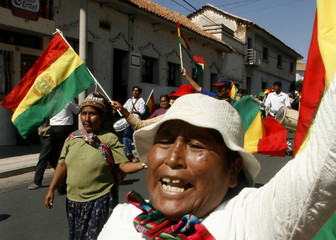 Demonstrators march in support of Bolivia's President Morales in Sucre