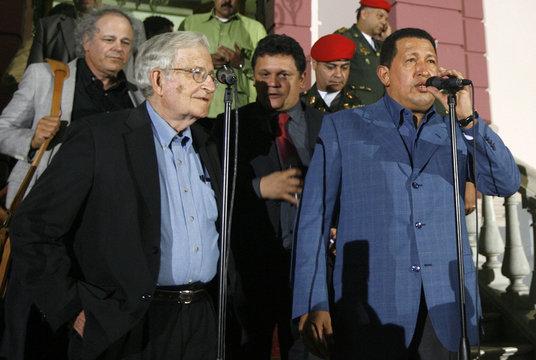 Venezuela's President Hugo Chavez welcomes U.S. linguist and political commentator Noam Chomsky at Miraflores Palace in Caracas