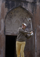 Manuel Lara of Spain tees off on the 4th hole during the Indian Masters European Tour golf tournament in New Delhi