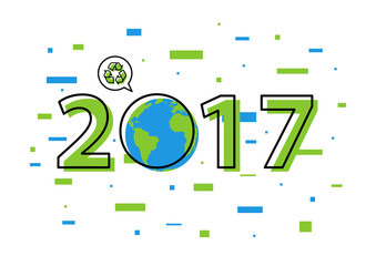 Earth 2017 with recycle sign vector illustration. New year 2017 ecological concept with colorful elements.